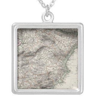 Spain and Portugal Map by Stieler Silver Plated Necklace