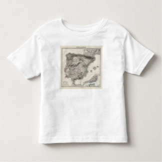 Spain and Portugal Map by Stieler Toddler T-shirt
