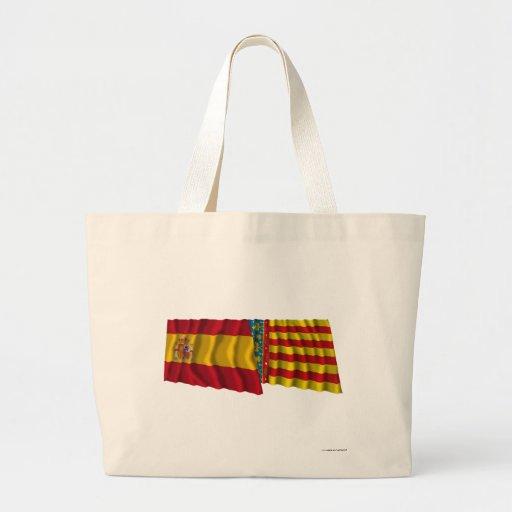 Spain and Valencia waving flags Canvas Bag