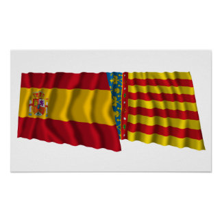 Spain and Valencia waving flags Poster