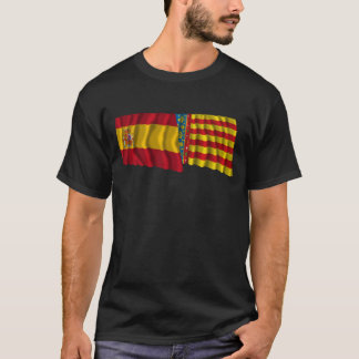 Spain and Valencia waving flags T-Shirt