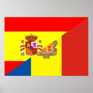 spain andorra half flag country symbol poster