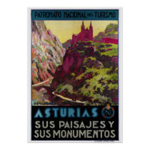 Spain Asturias Vintage Travel Poster Restored
