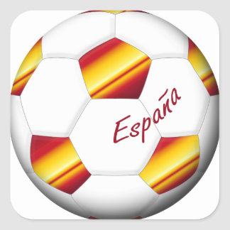SPAIN Ball of Soccer colors of Spanish flag Square Sticker