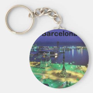 Spain Barcelona Night View (St.K) Basic Round Button Keychain