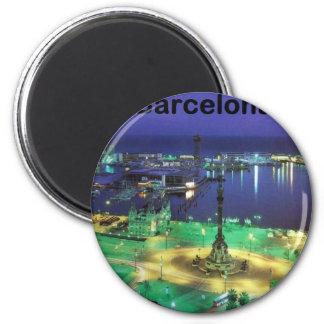 Spain Barcelona Night View (St.K) 2 Inch Round Magnet