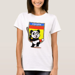 Women's Basic T-Shirt with Spain Baseball Panda design