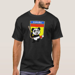 Men's Basic Dark T-Shirt with Spain Baseball Panda design