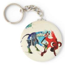 Spain Bull Vintage Travel Love Watercolor Keychain