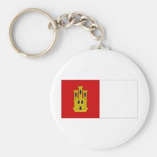 Spain Castilla La Mancha Flag Basic Round Button Keychain