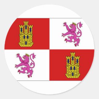 Spain Castilla Leon Flag Round Stickers