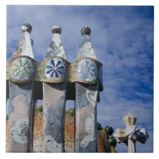 Spain, Catalonia, Barcelona. Casa Batllo (1906). 2 Ceramic Tile