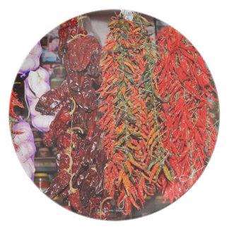 Spain, Catalonia, Barcelona, La Boqueria Market Party Plates