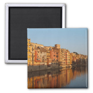 Spain. Catalonia. Gerona. Houses on the Onyar 2 Inch Square Magnet