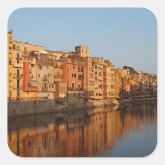 Spain. Catalonia. Gerona. Houses on the Onyar Square Sticker