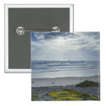 Spain Coastline with Yellow Flowers and Sun Beams Pinback Button