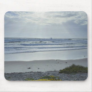 Spain Coastline with Yellow Flowers and Sun Beams Mouse Pad