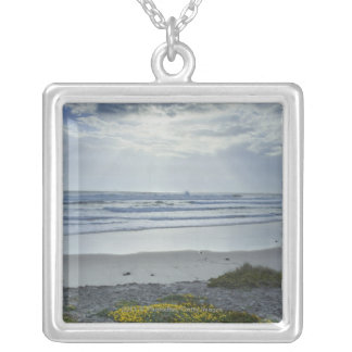 Spain Coastline with Yellow Flowers and Sun Beams Silver Plated Necklace
