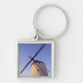 Spain, Consuegra, Castile-La Mancha Windmills 2 Silver-Colored Square Keychain