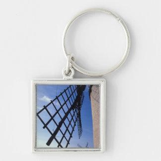 Spain, Consuegra, Castile-La Mancha Windmills Silver-Colored Square Keychain