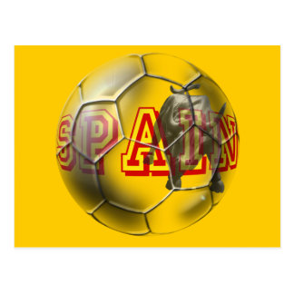 Spain contemporary soccer ball futbal fans gifts postcard