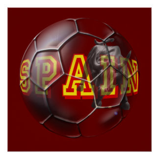 Spain contemporary soccer ball futbal fans gifts print
