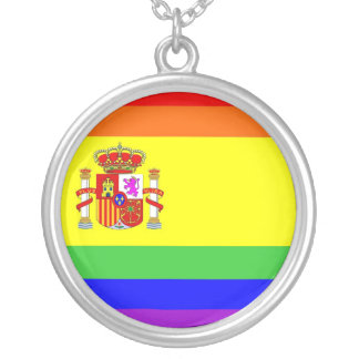 spain country gay proud rainbow flag homosexual silver plated necklace