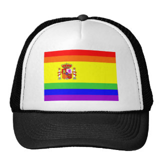 spain country gay proud rainbow flag homosexual trucker hat