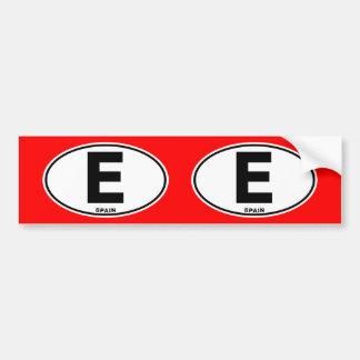 Spain E Oval ID Identification Code Initials Bumper Sticker