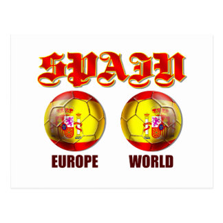 Spain Europe World Spanish flag soccer balls Postcard