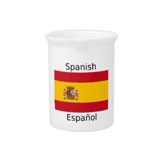 Spain Flag And Spanish Language Design Beverage Pitcher
