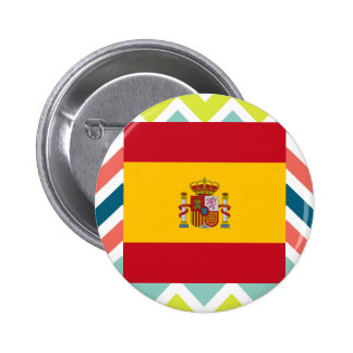 Spain Flag Box on Colorful Chevron 2 Inch Round Button