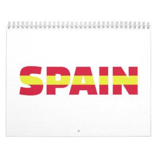 Spain flag calendar
