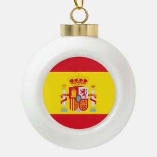 Spain Flag Ceramic Ball Christmas Ornament