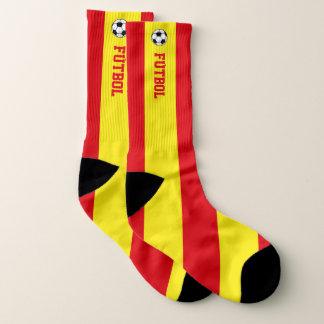 Spain Flag Fútboll and Your Text Socks