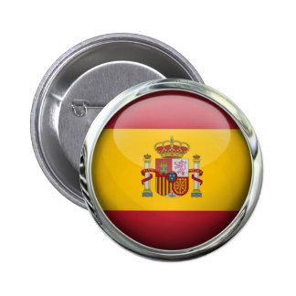 Spain Flag Glass Ball Pinback Button