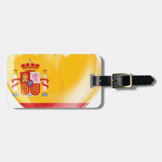 Spain flag love heart travel bag tag
