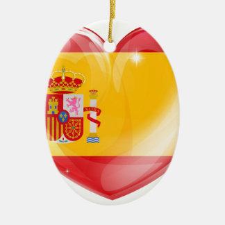 Spain flag love heart ornaments