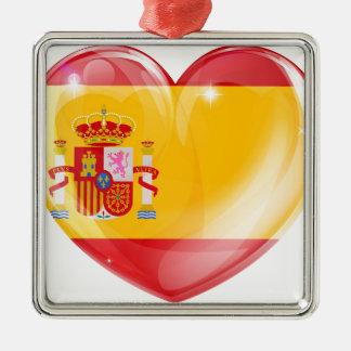 Spain flag love heart ornament