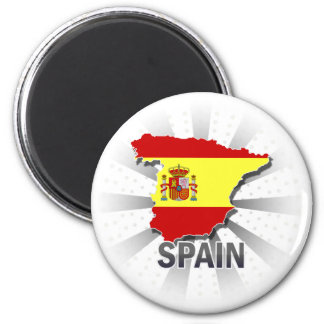 Spain Flag Map 2.0 2 Inch Round Magnet