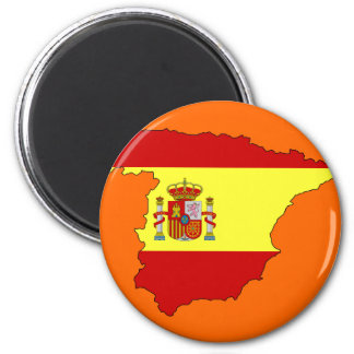 Spain flag map 2 inch round magnet