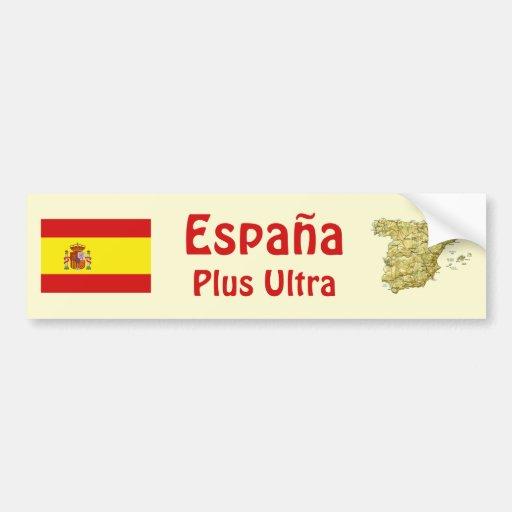 Spain Flag + Map Bumper Sticker