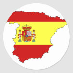 Spain flag map classic round sticker