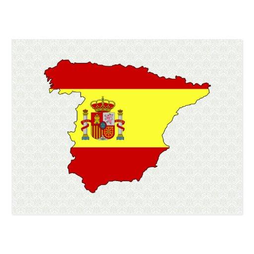 Spain Flag Map full size Post Card
