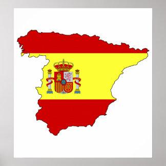 Spain Flag Map full size Poster