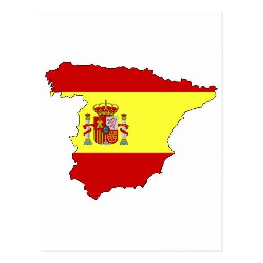 Spain flag map postcard