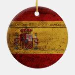 Spain Flag on Old Wood Grain Christmas Ornaments