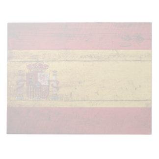 Spain Flag on Old Wood Grain Memo Pads