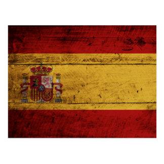 Spain Flag on Old Wood Grain Postcard