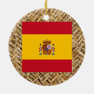 Spain Flag on Textile themed Double-Sided Ceramic Round Christmas Ornament